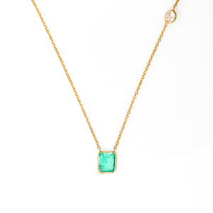 *SOLD* Emerald and Diamond in Yellow Gold Necklace - Sindur