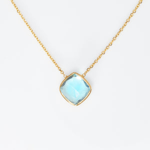 *SOLD* Blue Topaz in Yellow Gold Necklace - Sindur