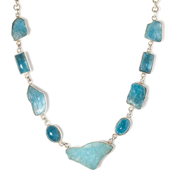 *SOLD* Organic Aquamarines in Sterling Silver Necklace - Sindur Style