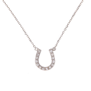 Diamonds in White Gold Horseshoe Necklace - Sindur Style