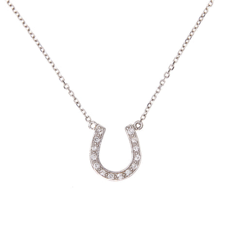 Diamonds in White Gold Horseshoe Necklace