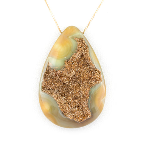 Twenty-Four Karat Gold Plated Green Agate Teardrop Necklace