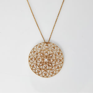 Diamond in Yellow Gold Filigree Necklace