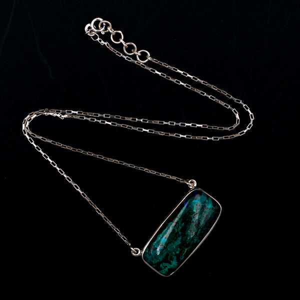 Azurmalachite Cabochon in Sterling Silver Necklace - Sindur