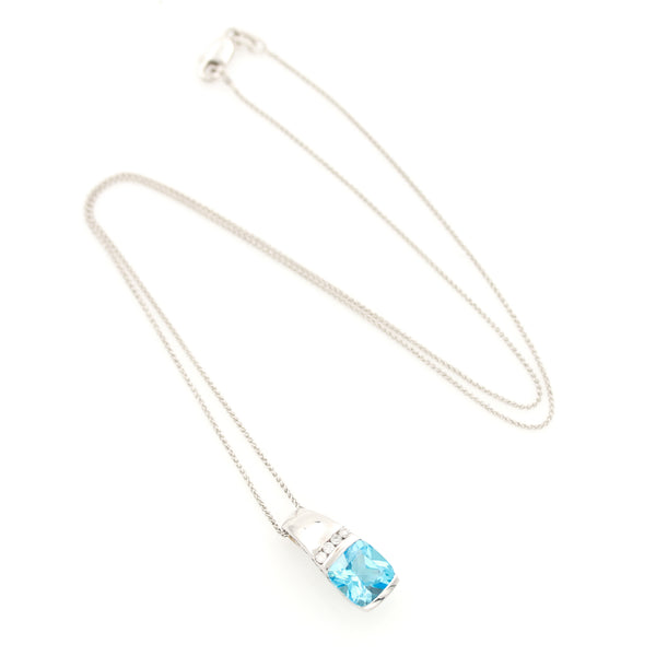 Blue Topaz and Diamonds in White Gold Necklace - Sindur Style
