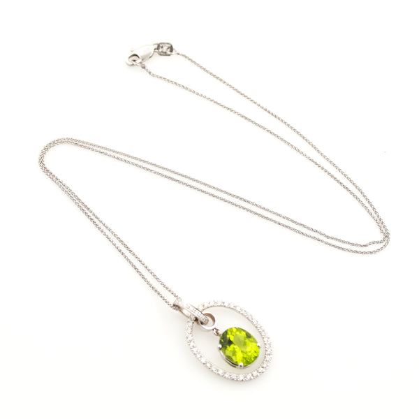 Peridot and Diamonds in White Gold Necklace - Sindur