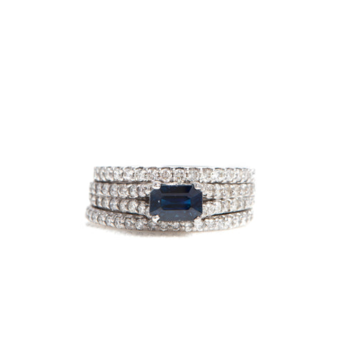 *SOLD* Sapphire and Diamonds in White Gold Ring
