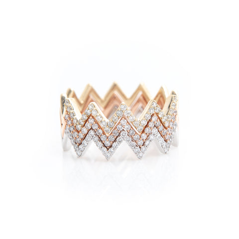 Chevron Diamond stacking rings - Sindur