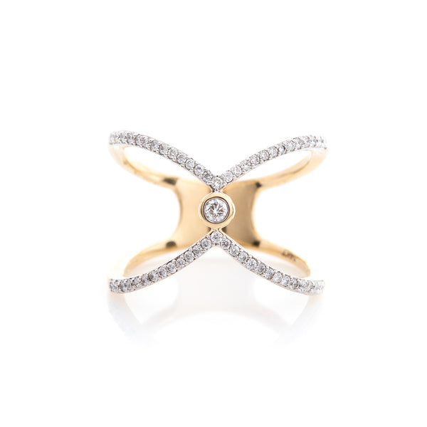 Diamonds in Yellow Gold Crossover Ring