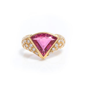 Tourmaline and Diamonds in Yellow Gold Ring - Sindur Style