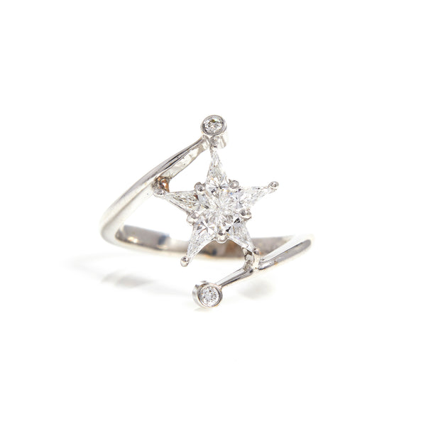 Diamonds in White Gold Star Ring