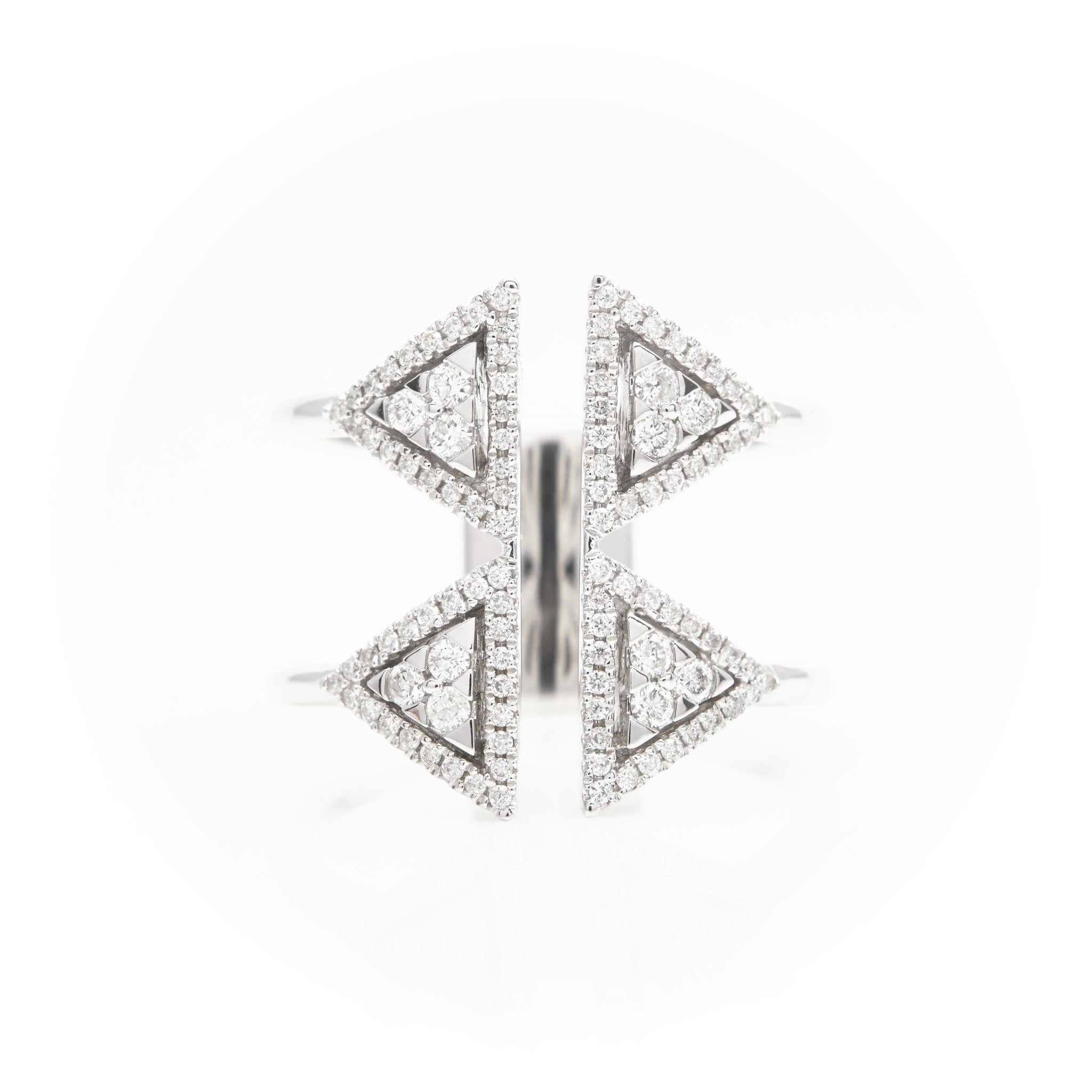 *SOLD*14k White Gold Triangle Diamond Ring