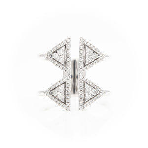 *SOLD*14k White Gold Triangle Diamond Ring - Sindur Style