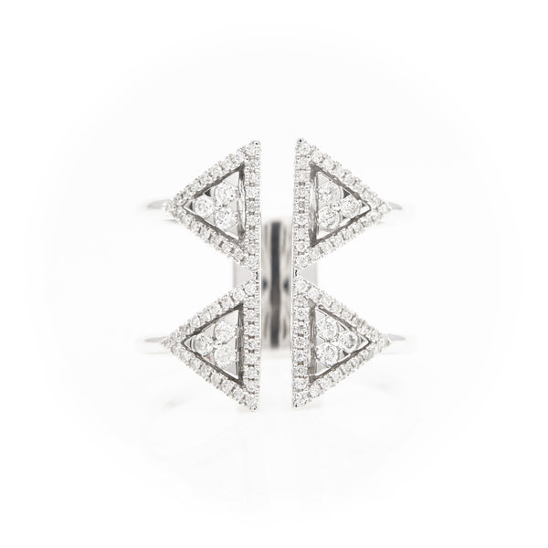 *SOLD*14k White Gold Triangle Diamond Ring - Sindur