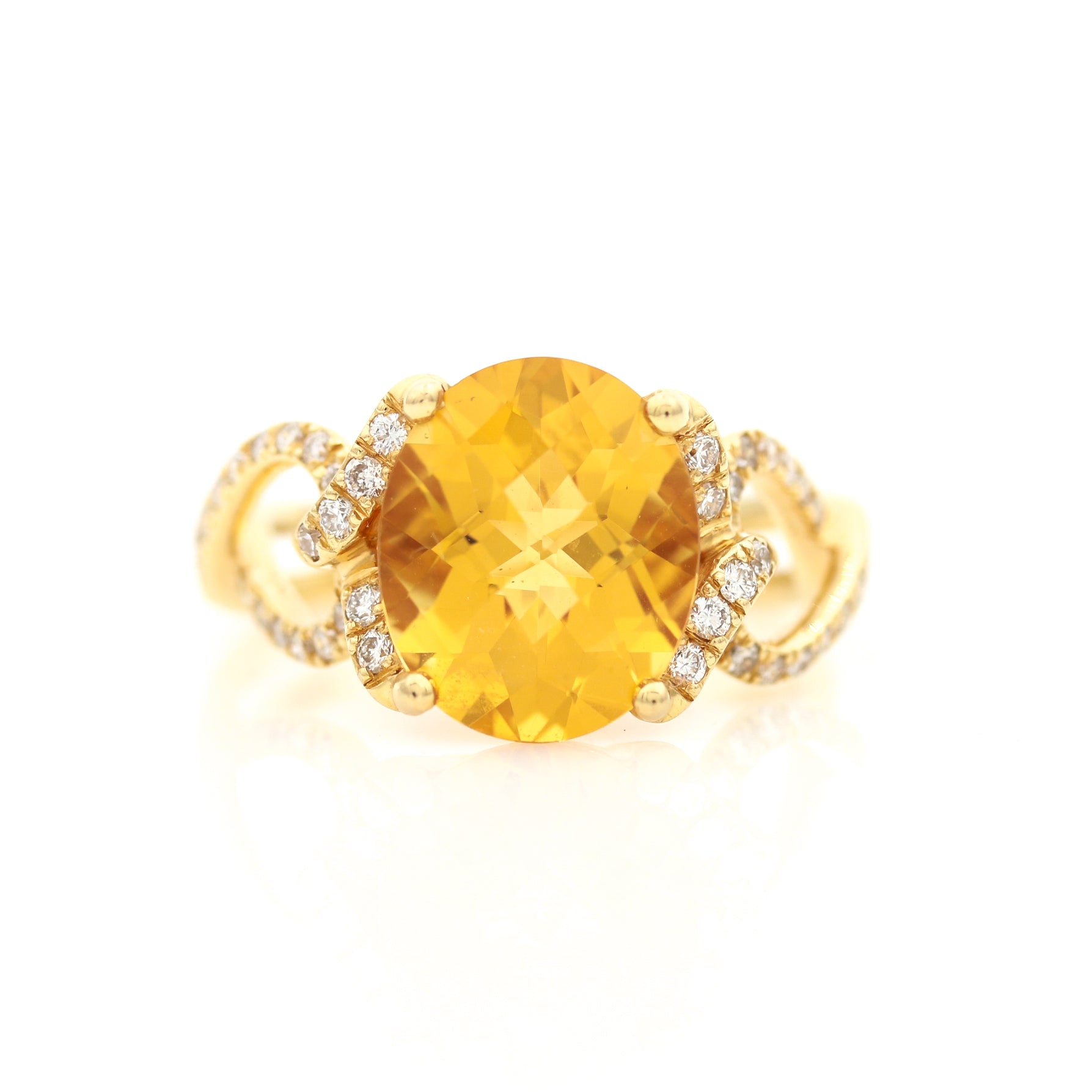 Citrine and Diamonds in Yellow Gold Ring - Sindur Style