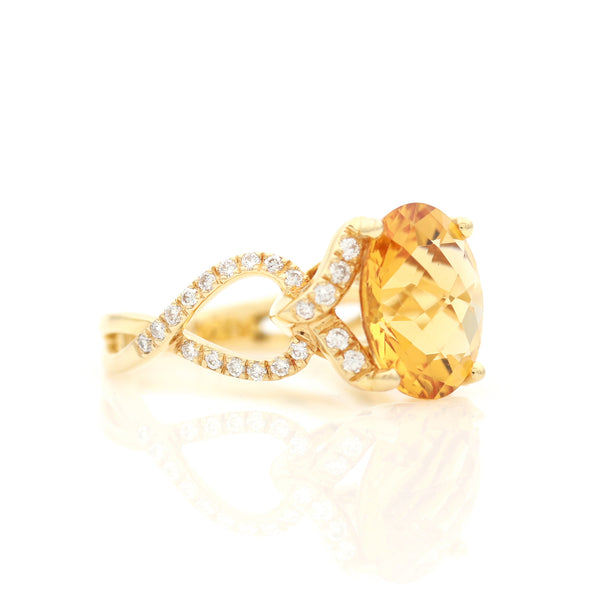 Citrine and Diamonds in Yellow Gold Ring - Sindur