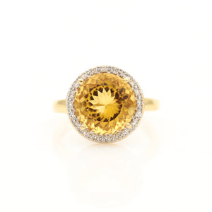 Citrine with Diamond Halo in Yellow Gold Ring - Sindur