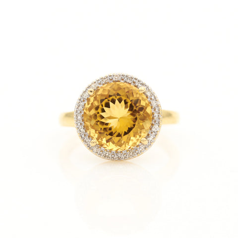 *SOLD* Citrine with Diamond Halo in Yellow Gold Ring - Sindur Style