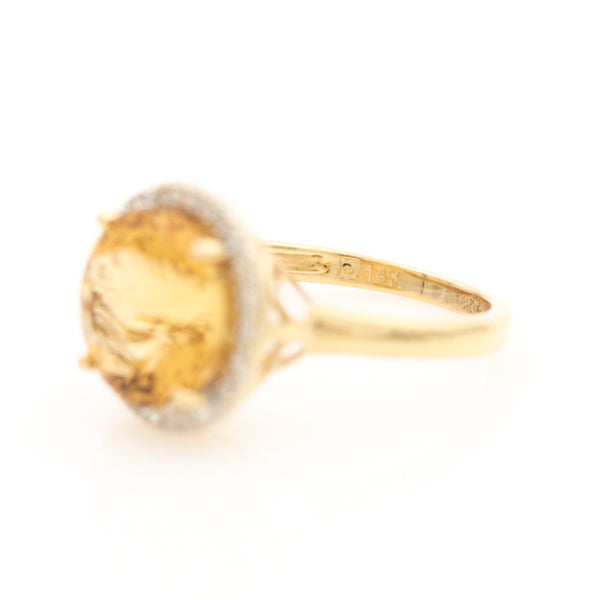*SOLD* Citrine with Diamond Halo in Yellow Gold Ring - Sindur