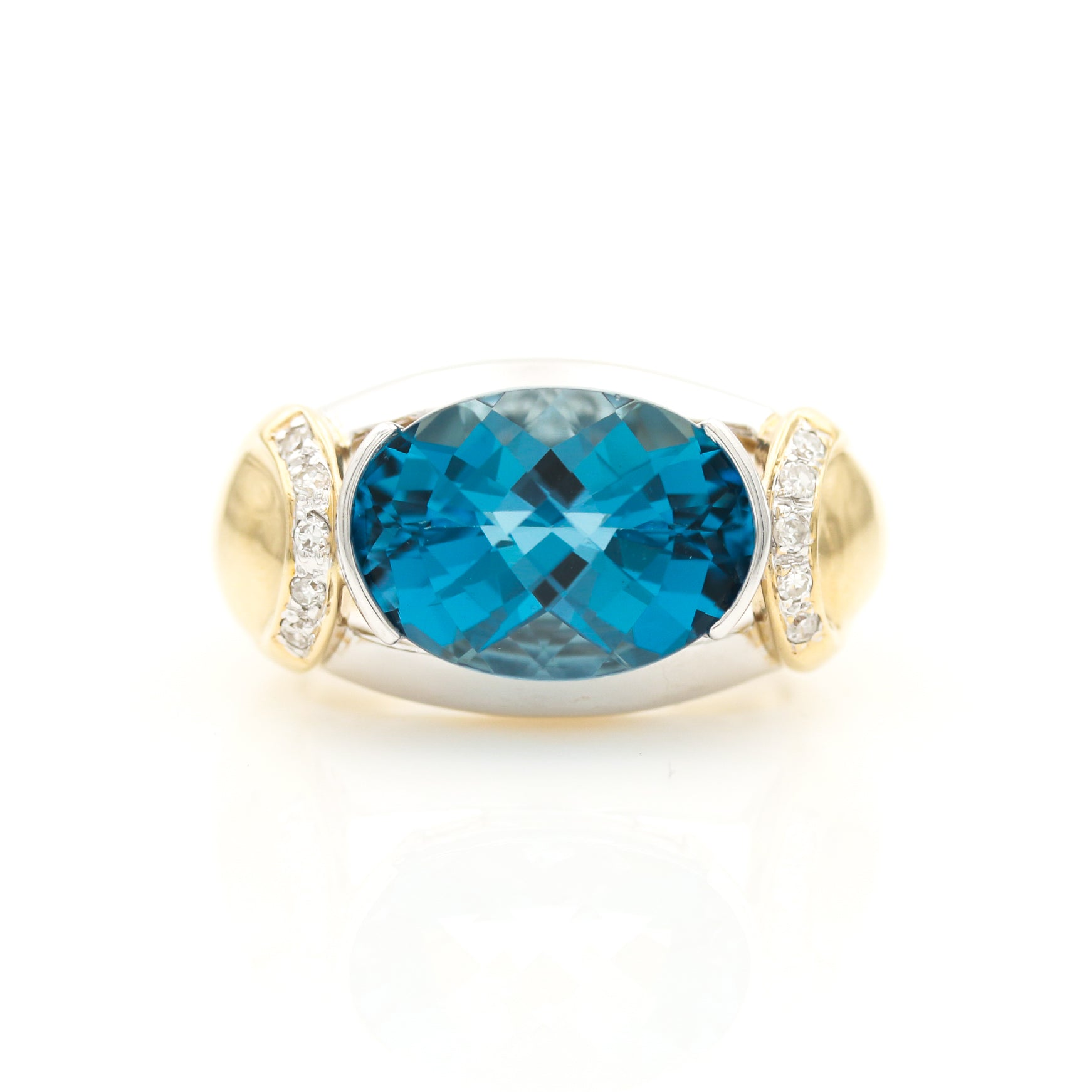 Topaz and Diamonds in Modern Two Tone Gold Ring - Sindur