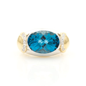 *SOLD* Topaz and Diamonds in Modern Two Tone Gold Ring - Sindur
