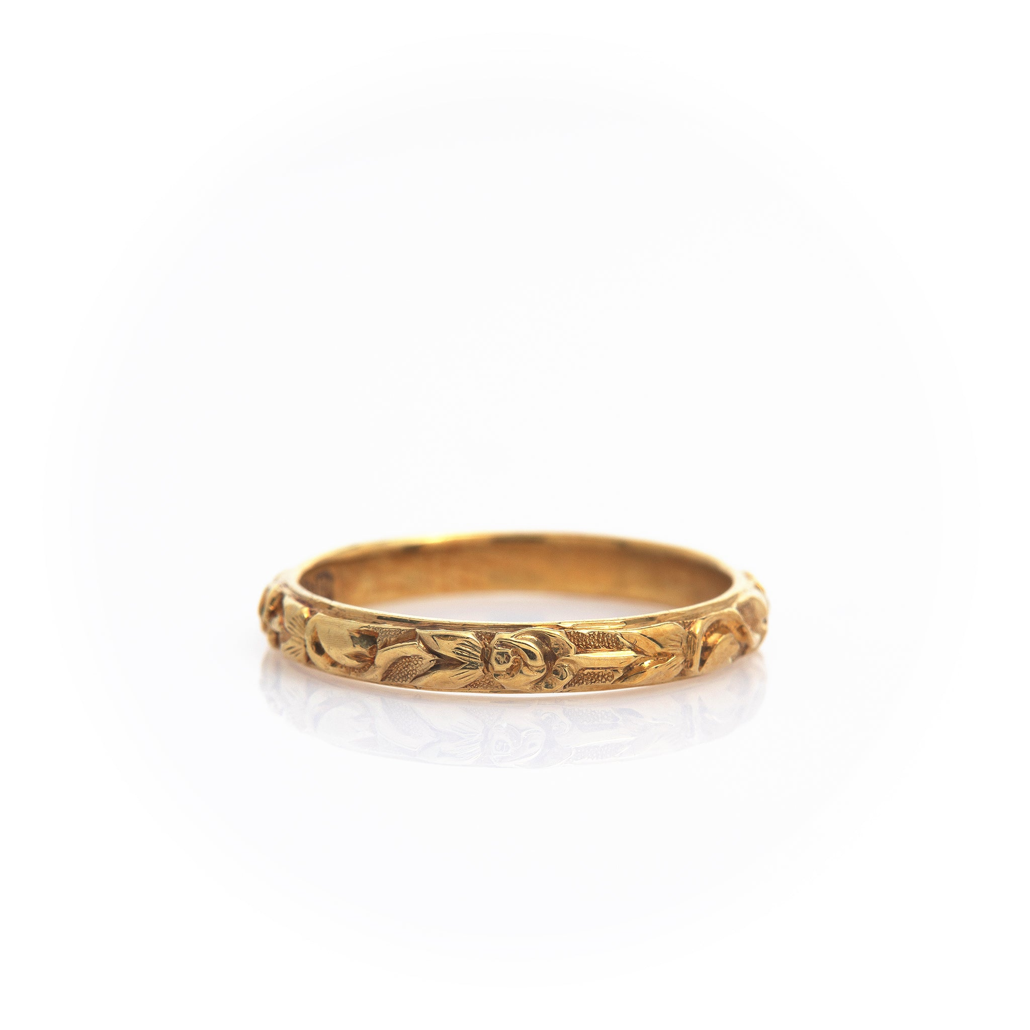 *SOLD* Antique Floral Yellow Gold Band