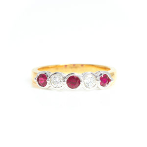 *SOLD*  Two Tone Gold Ruby and Diamond Band - Sindur Style