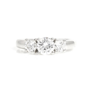 Classic Three Stone Diamond Ring in Platinum - Sindur