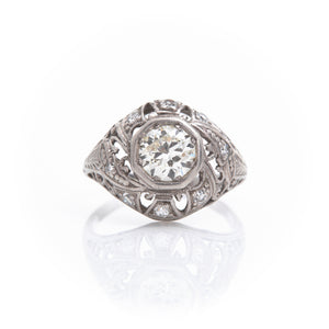 *SOLD* Diamond in Edwardian Platinum Filigree Ring - Sindur