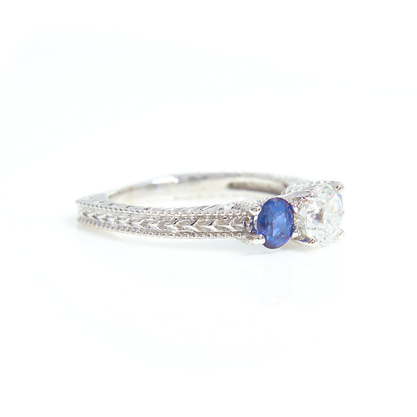 Diamond and Sapphire Three Stone Ring in White Gold - Sindur Style
