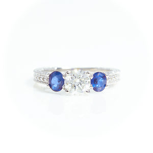 Diamond and Sapphire Three Stone Ring in White Gold - Sindur