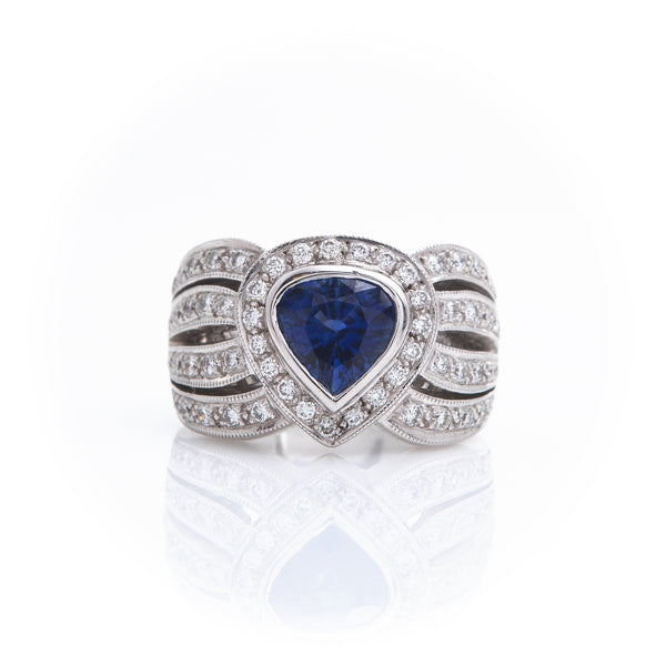 Blue Sapphire and Diamonds in White Gold Ring - Sindur