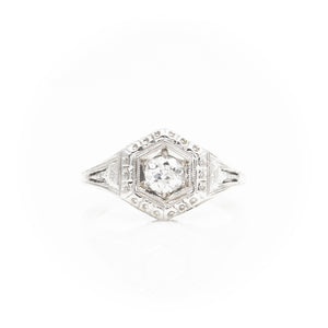 *SOLD*Art Deco filigree ring with old European cut diamond - Sindur Style