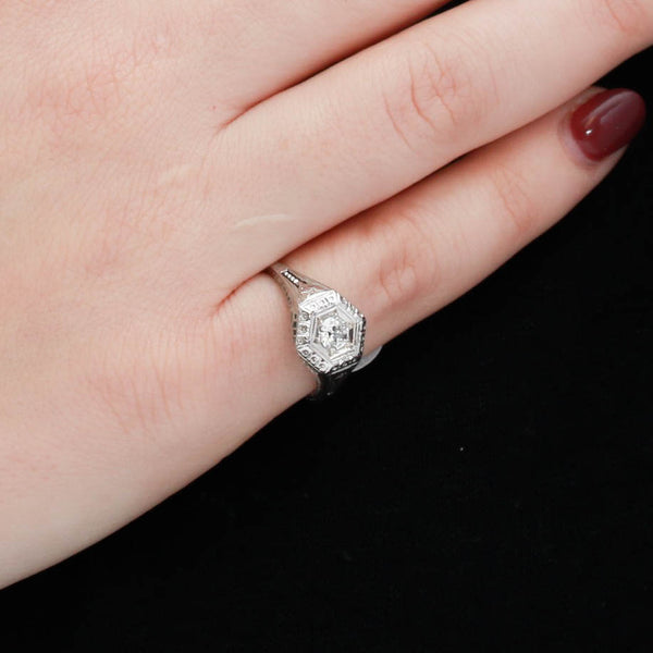 *SOLD*Art Deco filigree ring with old European cut diamond