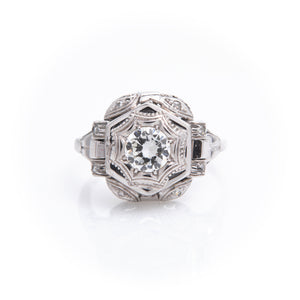 Diamonds in Retro White Gold Ring