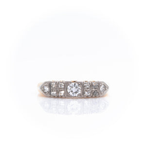 *SOLD* Diamonds in Art Deco Two Tone Gold Band - Sindur