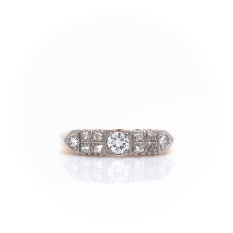 *SOLD* Diamonds in Art Deco Two Tone Gold Band