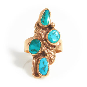 Turquoise in Handmade Yellow Gold Ring