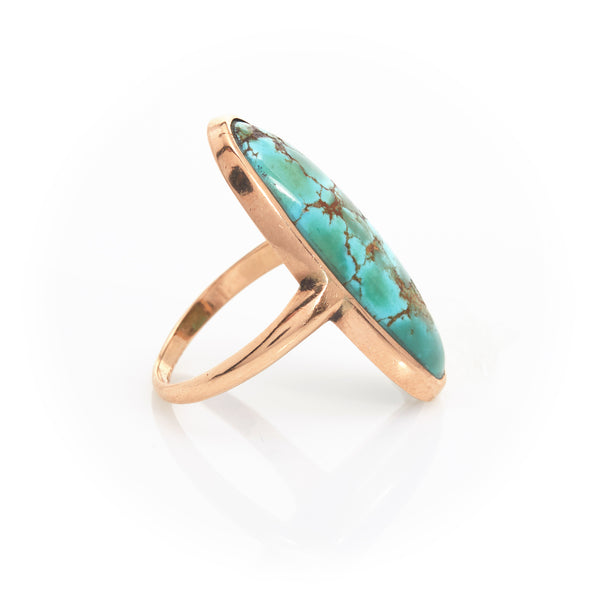 Turquoise Cabachon in Yellow Gold Ring