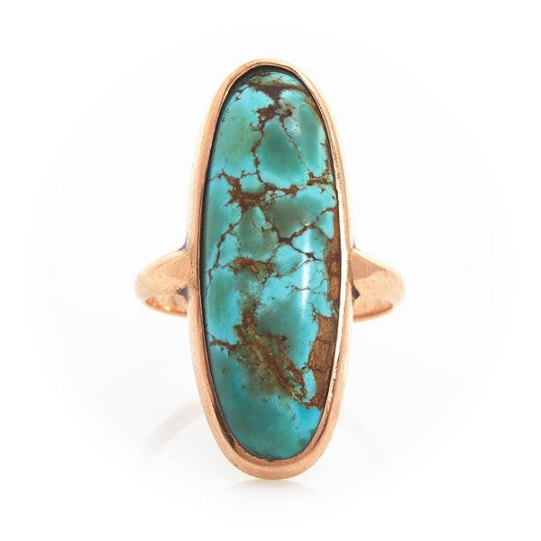 *SOLD* Turquoise Cabachon in Yellow Gold Ring - Sindur Style