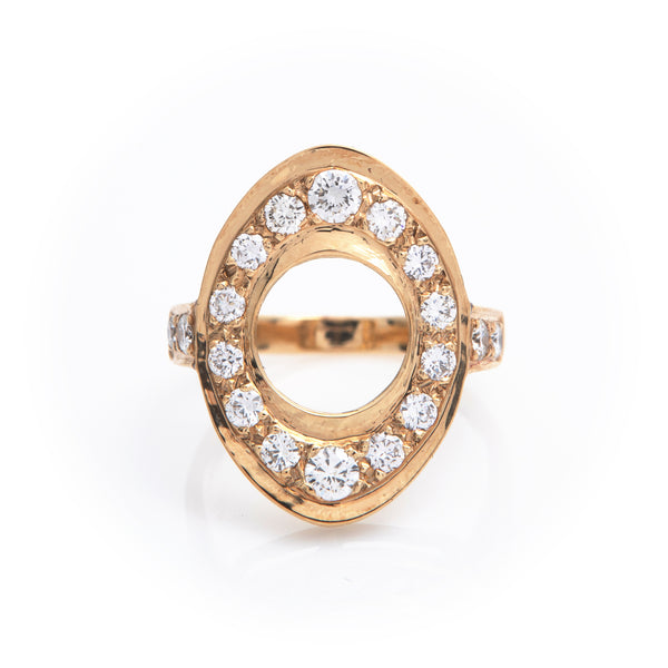 Diamonds in Yellow Gold Oval Ring - Sindur