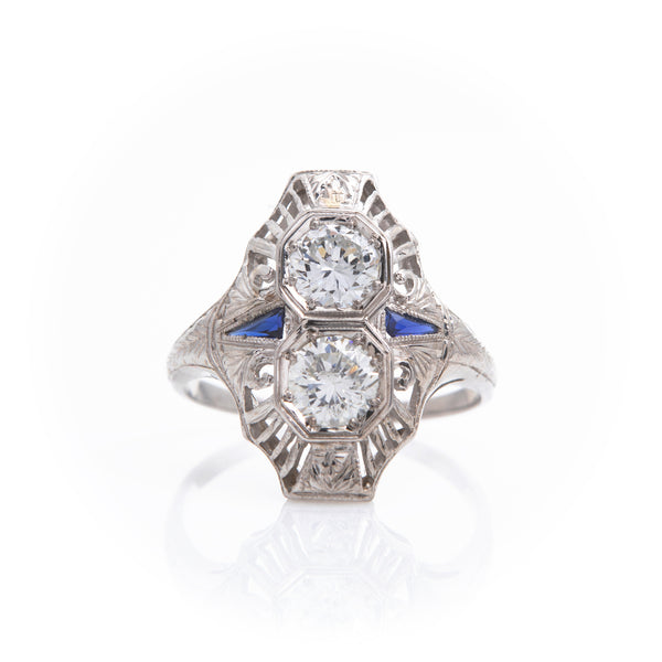 *SOLD*Diamonds and Sapphires in Art Deco White Gold Ring - Sindur