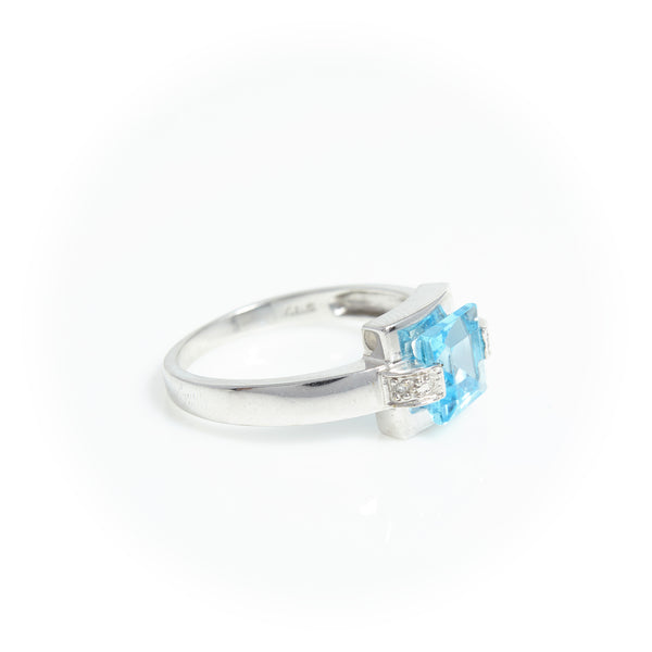 Modern Blue Topaz & Diamond ring - Sindur Style