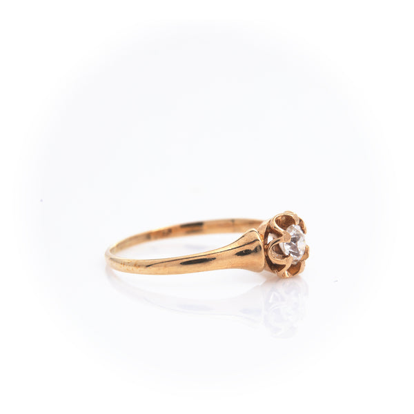 Diamond in Antique Yellow Gold Ring
