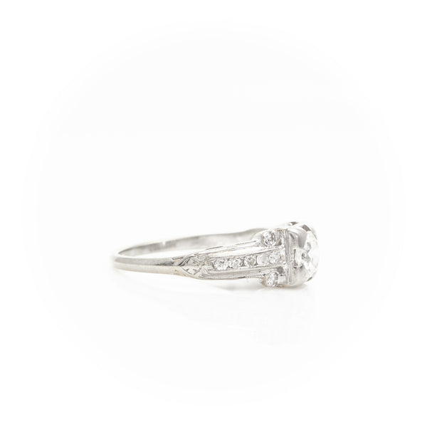 *SOLD* Diamonds in Art Deco Platinum Ring - Sindur Style