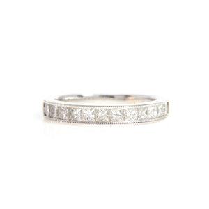 14K White Gold Princess Cut Diamond Band - Sindur