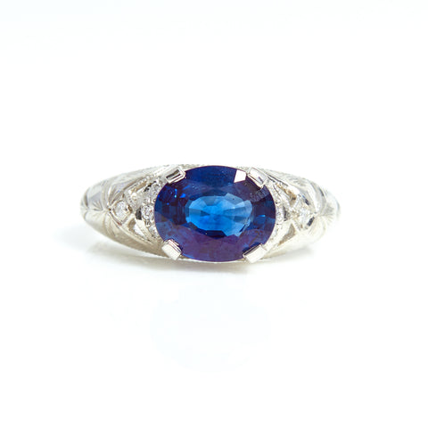 Natural Blue Sapphire and Diamond ring in Platinum - Sindur Style
