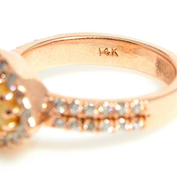 Rose gold Opal & diamond halo ring - Sindur