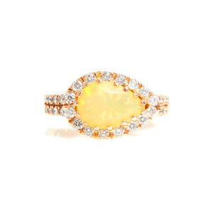 Opal & Diamonds with Diamond Halo in Rose Gold Ring - Sindur Style