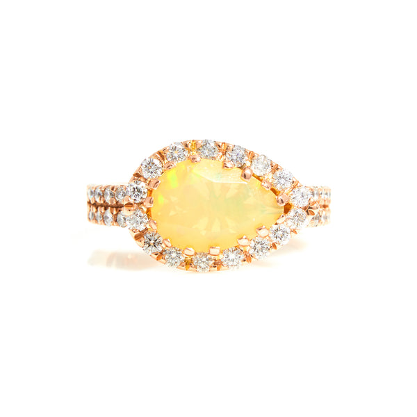 Opal & Diamonds with Diamond Halo in Rose Gold Ring - Sindur